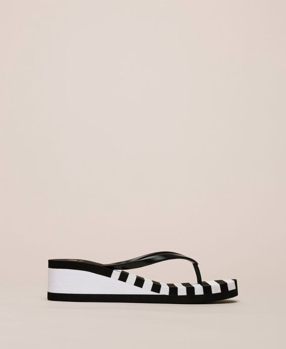 Striped thong sandals with wedge