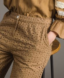 """Voile trousers with broderie anglaise embroidery """"Savannah"""" Beige Woman 191ST2115-05"""