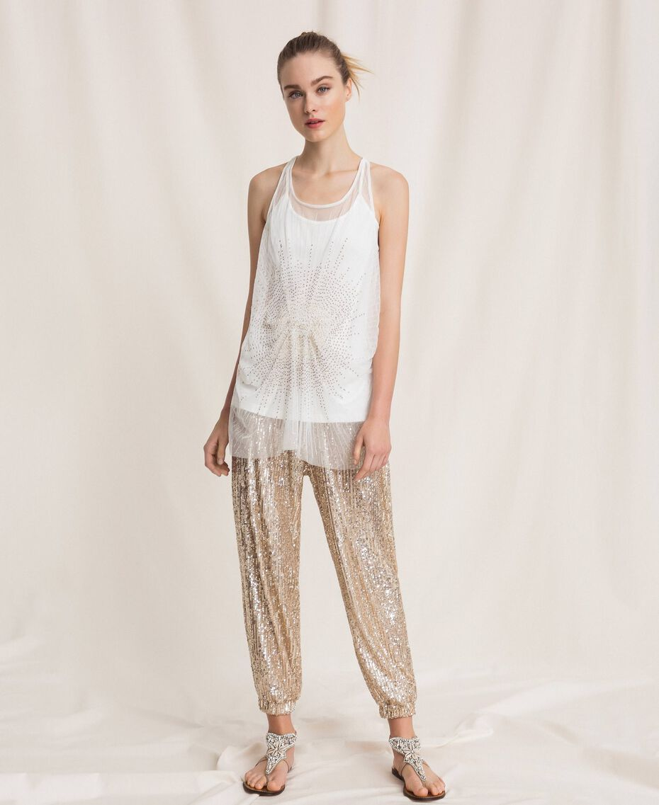 Long tulle top with sequins Ivory Woman 201LB21MM-01