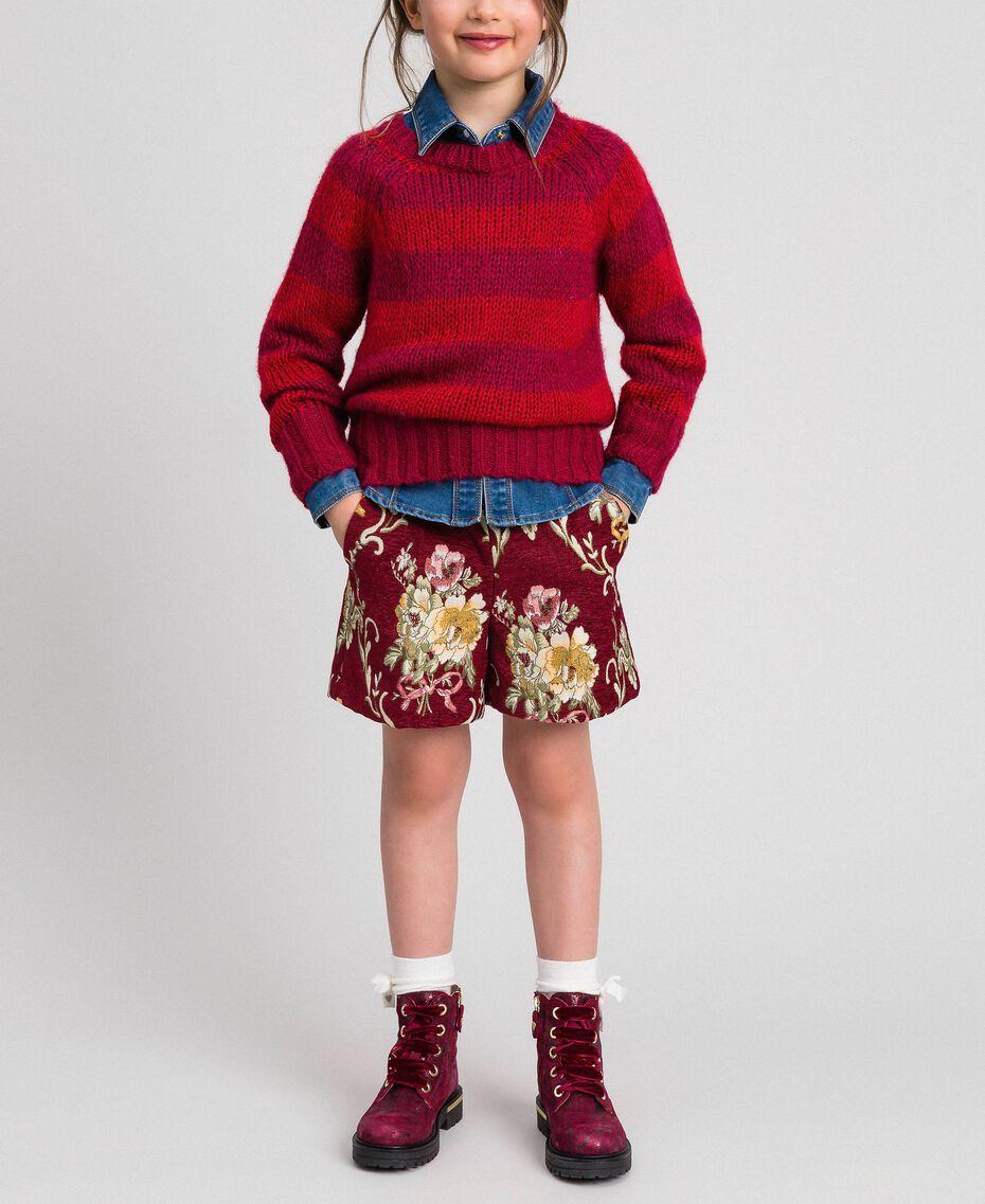 Short en brocart floral Jacquard Brocart Vin Rubis Enfant 192GJ2445-0T