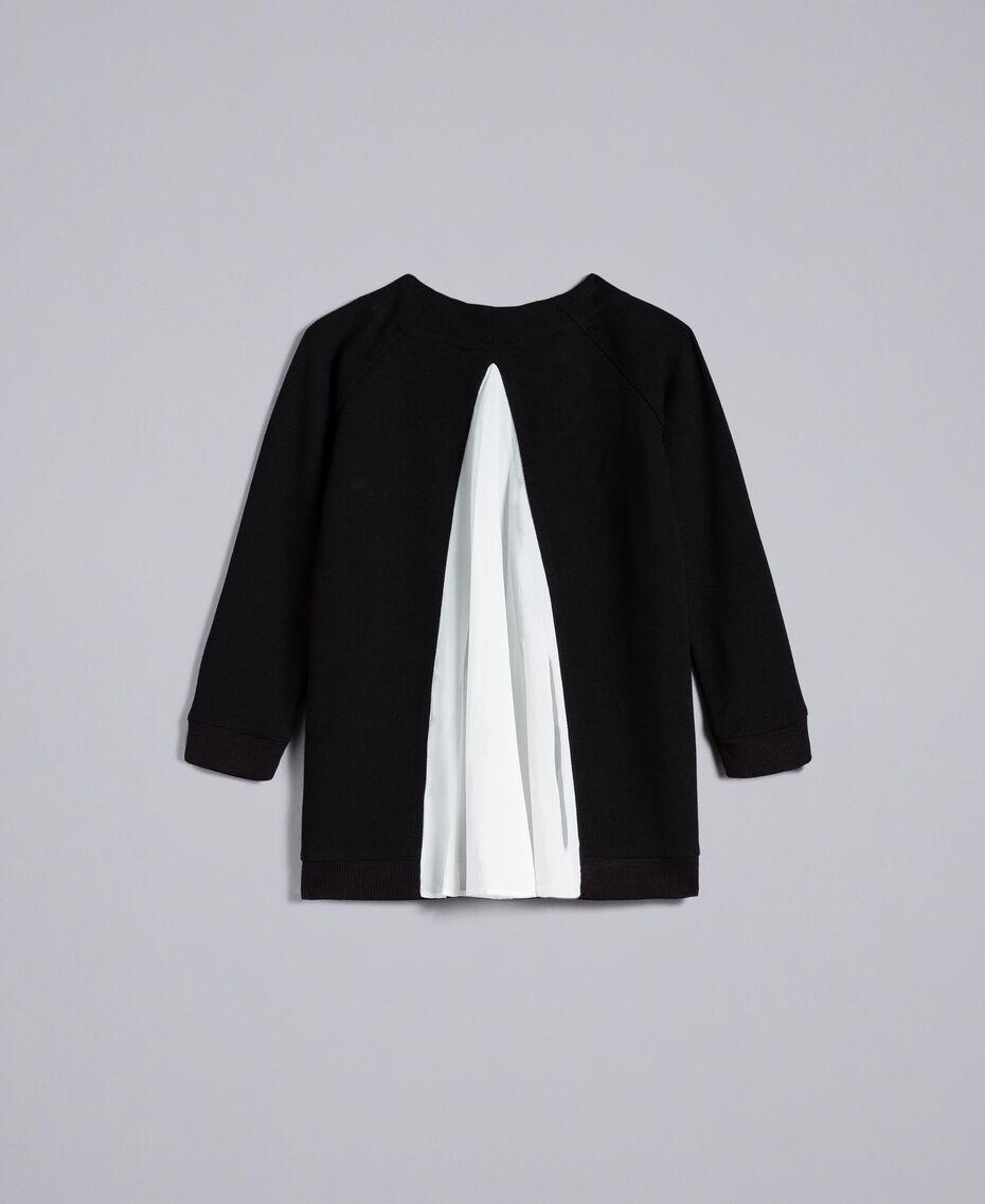 Maxisweatshirt aus Interlock-Jersey Zweifarbig Schwarz / Off White Kind FA82FP-0S