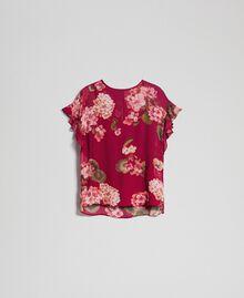 Floral print creponne blouse Beet Red Geranium Print Woman 192TP2720-0S
