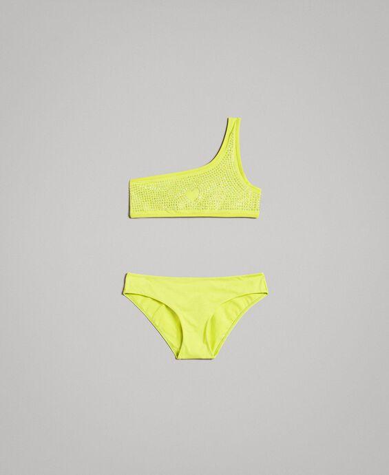 One-shoulder bikini with rhinestones