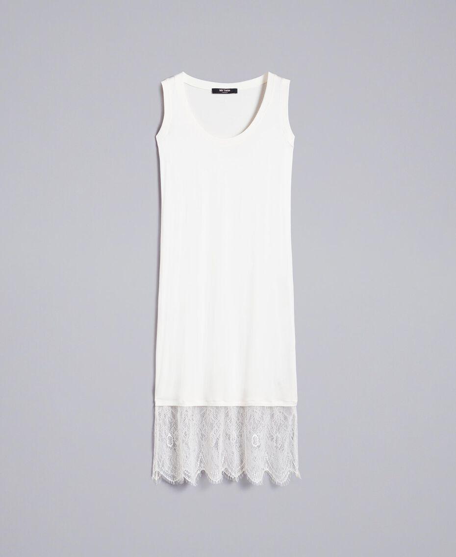 Kleid im Unterkleidstil mit Spitze Perlmutt Frau JA82TA-0S