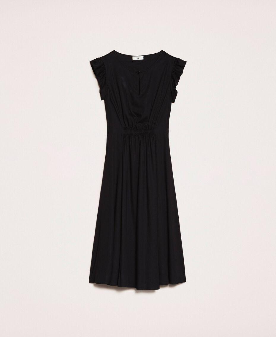 Poplin dress with ruffles Flirty Rose Print Woman 201LB2BDD-0S