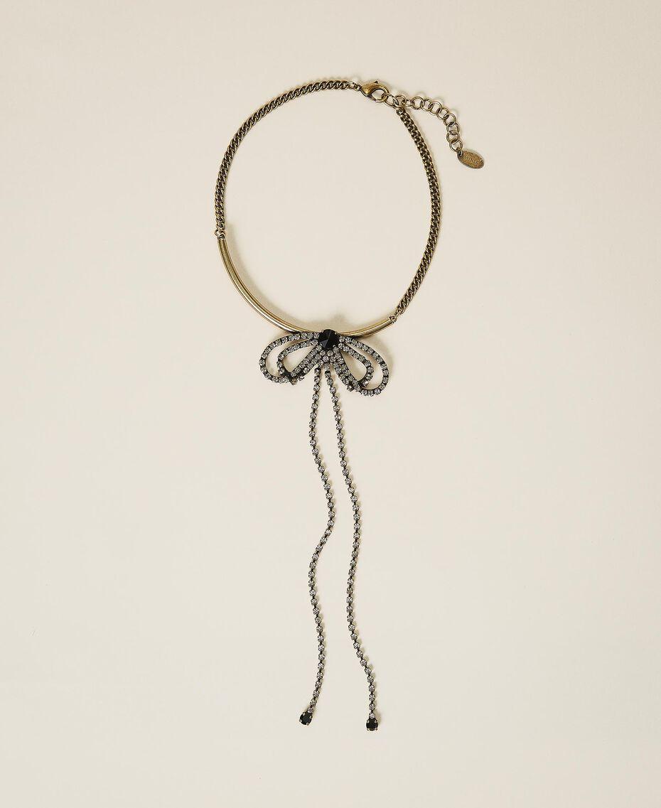 Collier ras-de-cou avec strass et chatons Noir Diamant Femme 202TA4304-01