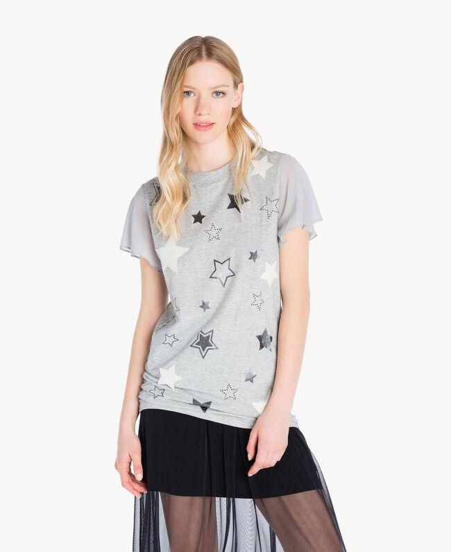 T-shirt paillettes Gris Mélangé Femme JS82RA-01