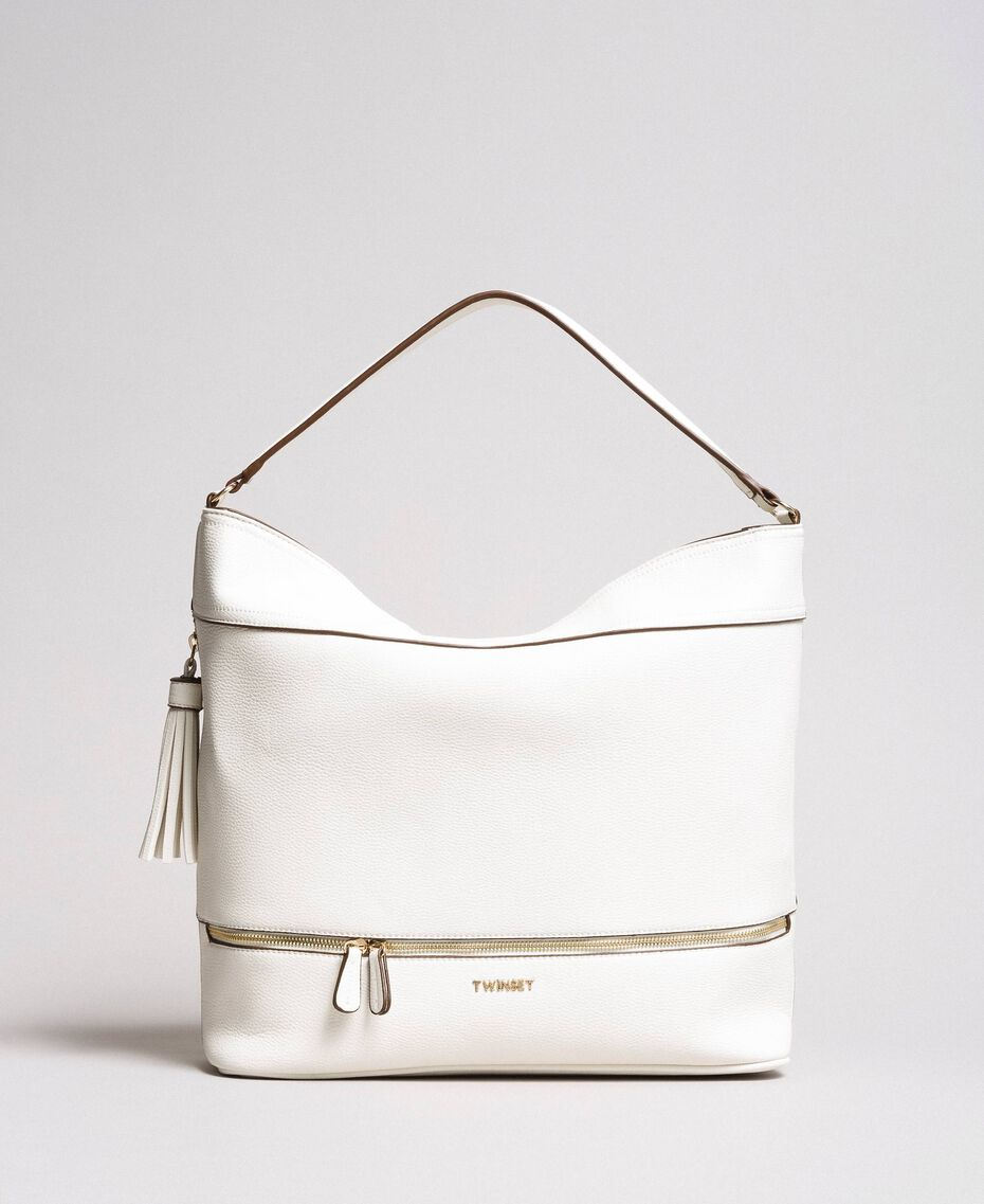 Faux leather hobo bag with tassel White Snow Woman 191TA7600-02