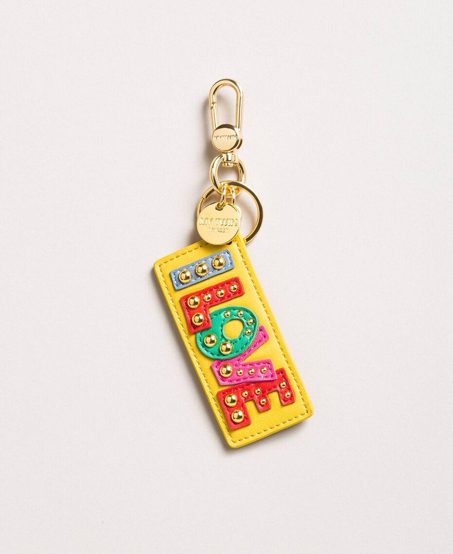 """Porte-clés en similicuir avec clous Jaune """"Freesia"""" Femme 191MA7131-01"""