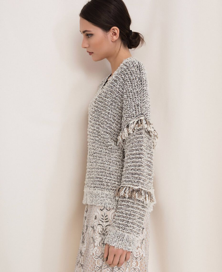 Twisted yarn jumper with lurex Multicolour Ivory / Black Woman 201TP3162-02