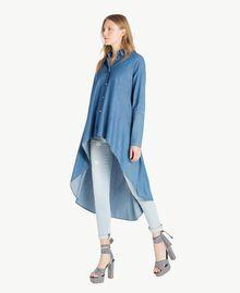 Denim maxi shirt Denim Blue Woman JS82U2-02