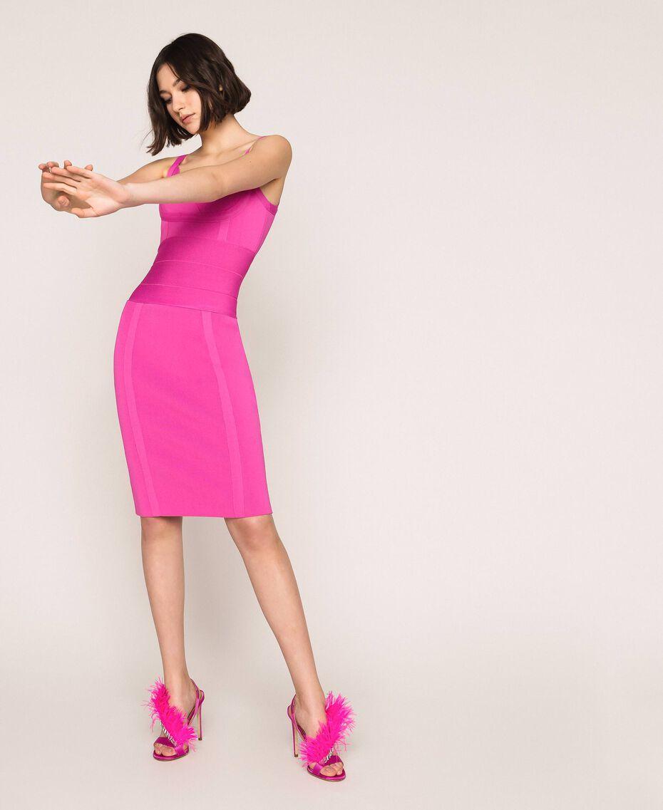 Sandales en satin avec plumes Rose «Jazz» Femme 999TCP032-0S