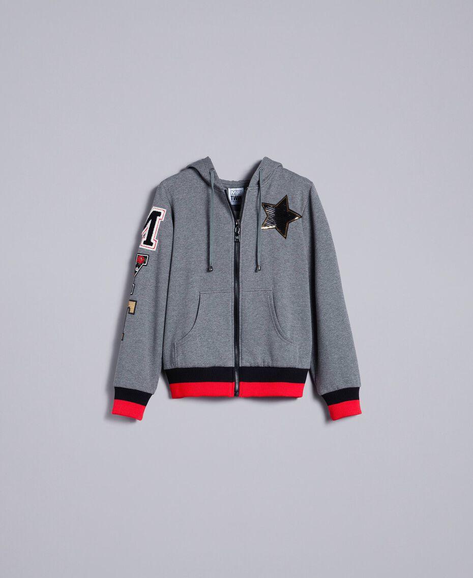 "Hooded cotton sweatshirt Multicolor Grey Melange /  / Alpine Green / ""Poppy"" Red Woman YA82LR-0S"