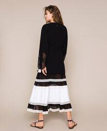 Maxi cardigan côtelé avec dentelle Noir Femme 201TP3121-03