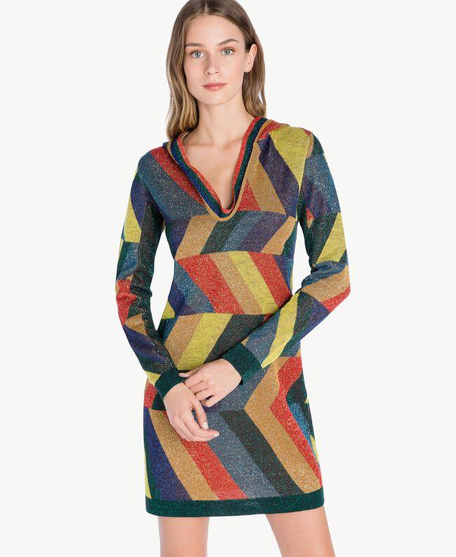 "Vestido de jacquard de lúrex Multicolor ""Jacquard Geométrico"" Femenino PA738S-01"