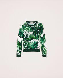 Джемпер с принтом и вышивкой Принт Тропический Горошек Зеленый женщина 201TP3266-0S