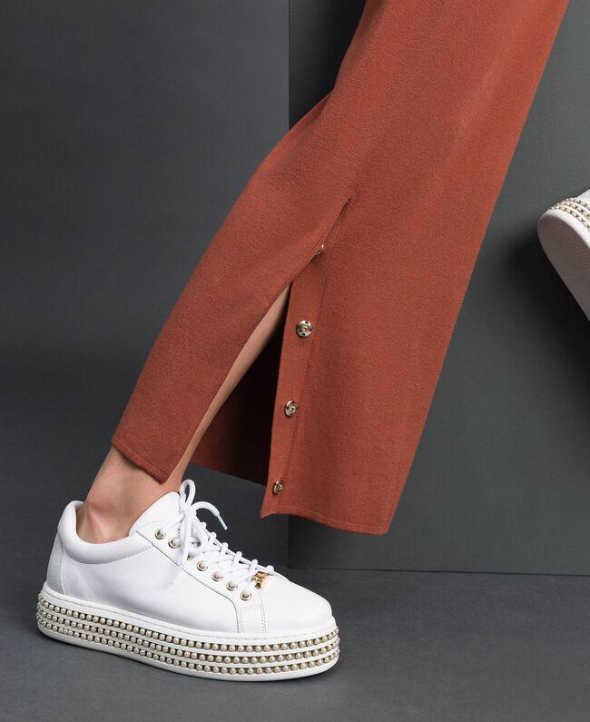 """Knit palazzo trousers """"Chic-ness"""" Brown Woman 192LI3NFF-01"""