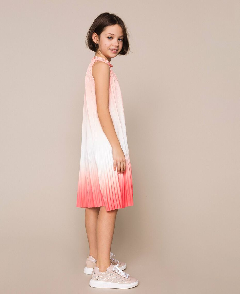"Fadeout pleated satin dress ""Calypso Coral"" Red Multicolour Print Child 201GJ2200-02"