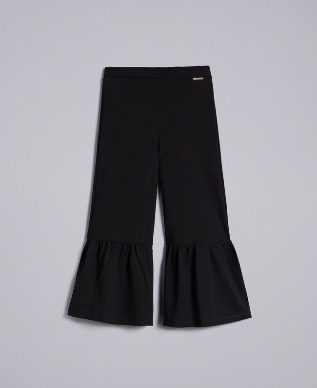 Pantalon évasé en point de Milan Noir Enfant GA82F2-01