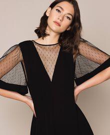 Crêpe de Chine dress with plumetis tulle Black Woman 201TP2371-04