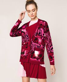Printed cardigan with sequins Superpink Liberty Print Woman 201ST3162-02