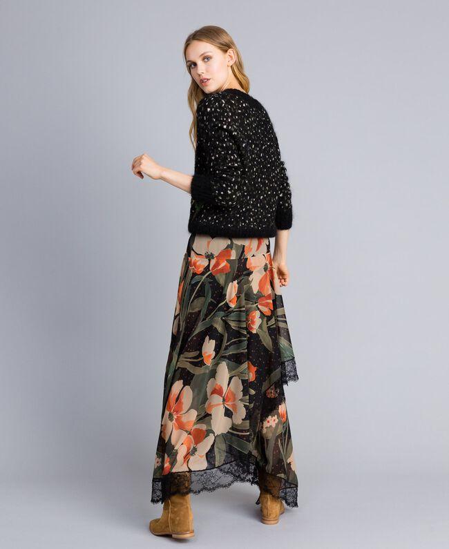 Chiffon long skirt with floral print Maxi Black Tulip Print Woman TA825V-03
