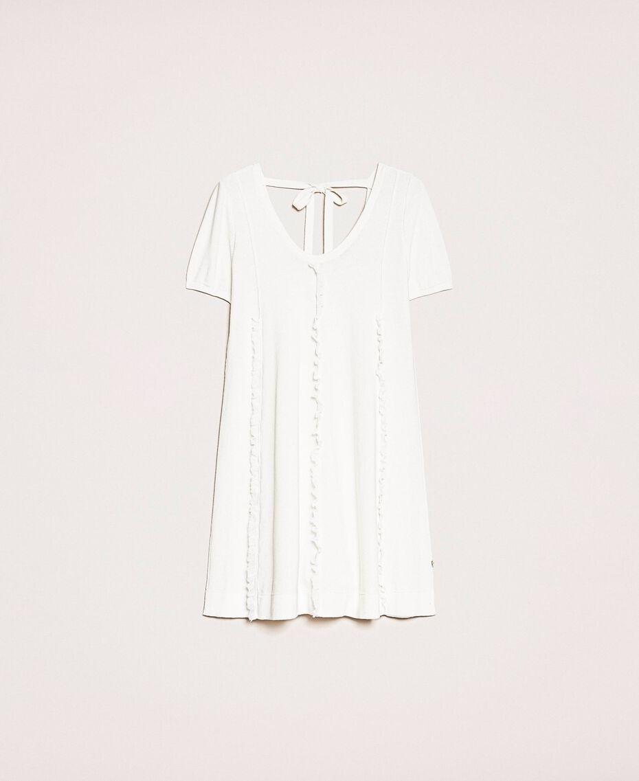 Robe avec surpiqûres et volant Blanc Femme 201ST3066-0S