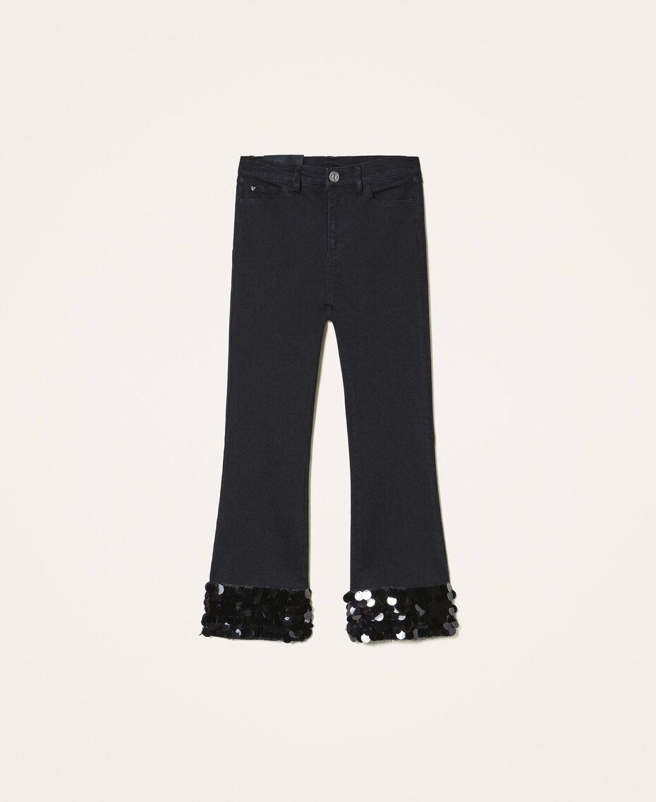 Расклешенные джинсы с пайетками Черный женщина 202MT2124-0S
