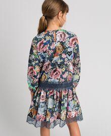Crêpe dress with floral and graffiti print Graffiti Print Child 192GJ2491-03