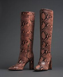 Leather high boots with animal print Dark Green Python Print Woman 192TCP108-01