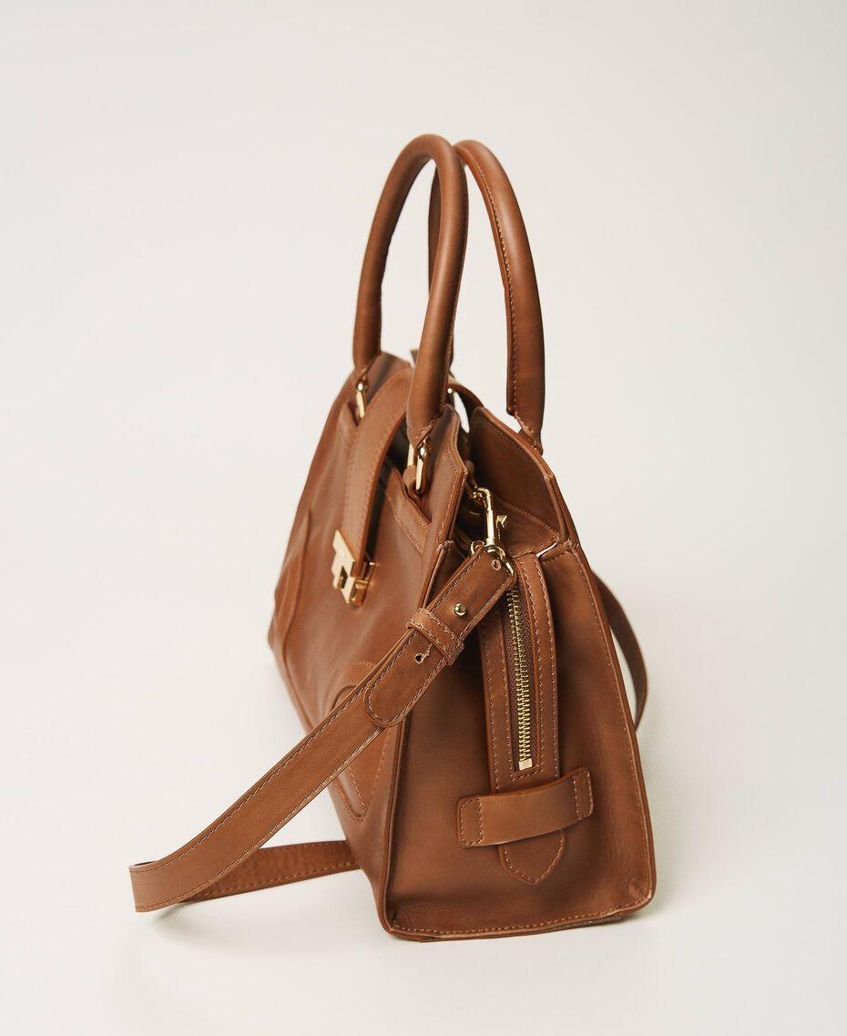 Shopper aus Leder mit Schnalle Leder Frau 202TB7124-01