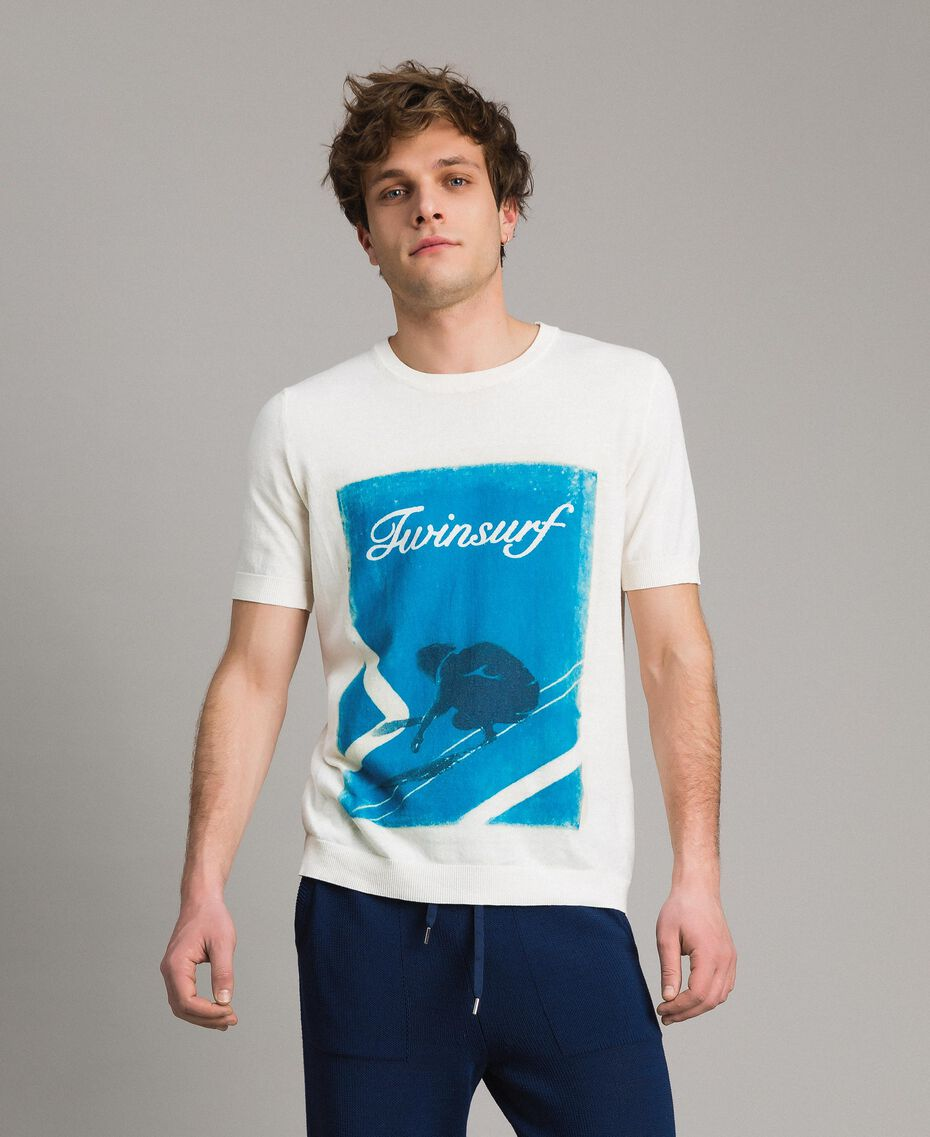 """T-shirt en crêpe de coton avec imprimé Imprimé Bleu Baie """"Twinsurf"""" Homme 191UT3050-02"""