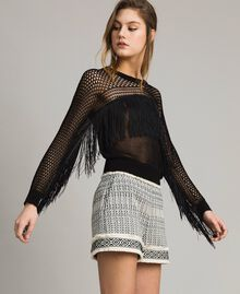 Mesh and lace stitch fringed jumper Black Woman 191TT3063-02
