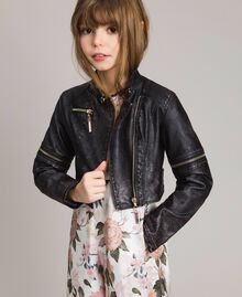 Faux leather jacket with zip Black Child 191GJ2103-0S