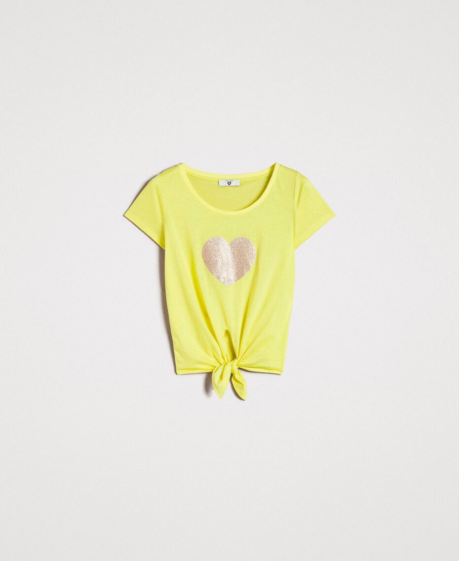 "Cropped T-shirt with heart ""Lemon Juice"" Yellow Woman 191LB23MM-0S"