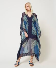 "Abito caftano con stampa foulard Stampa Foulard Cachemire ""Nautical Blue"" Donna 211TT268D-01"
