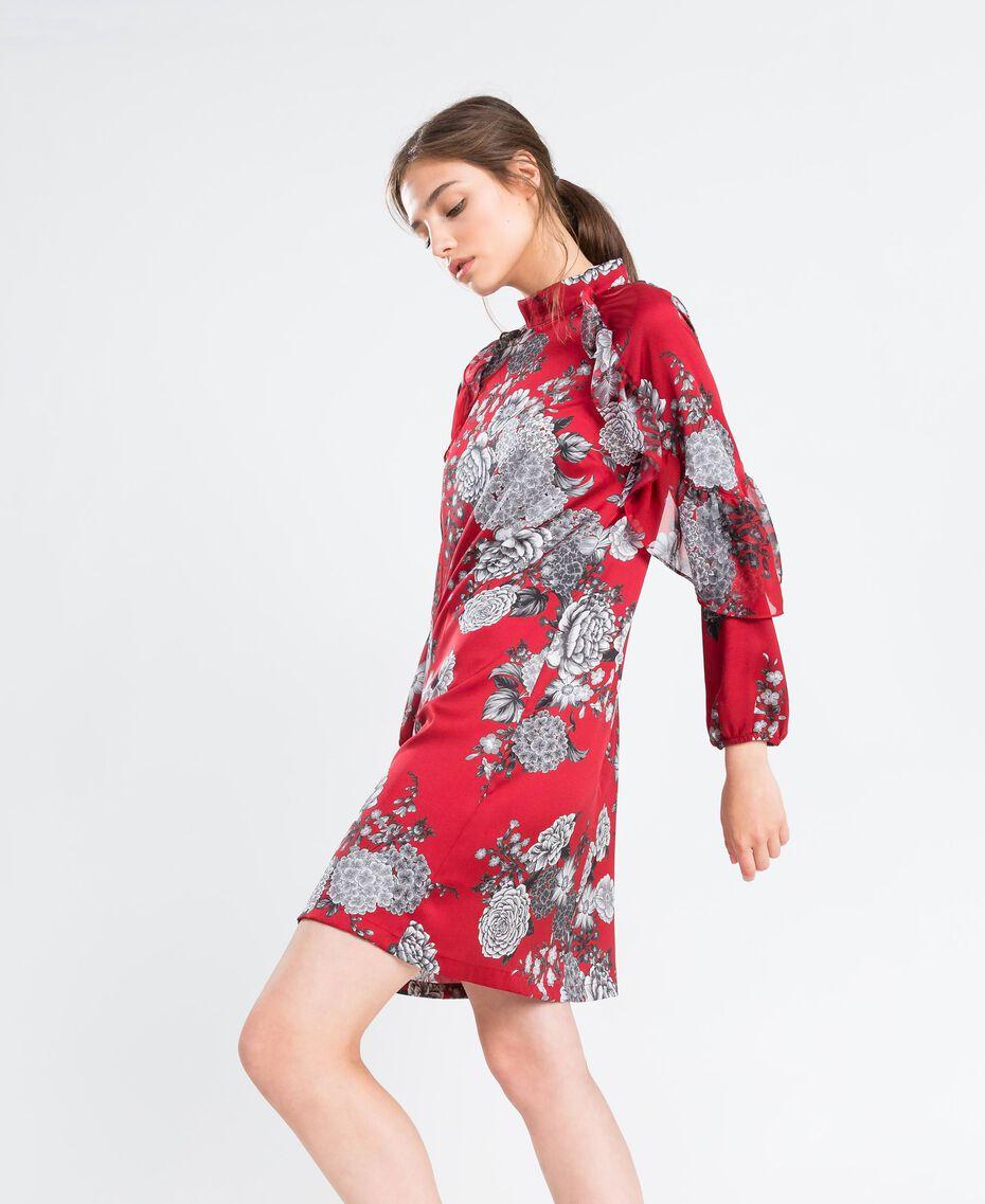 """Kleid aus Twill mit Blumenprint Print """"Blume"""" Rotbraun Frau LA8KSS-0S"""