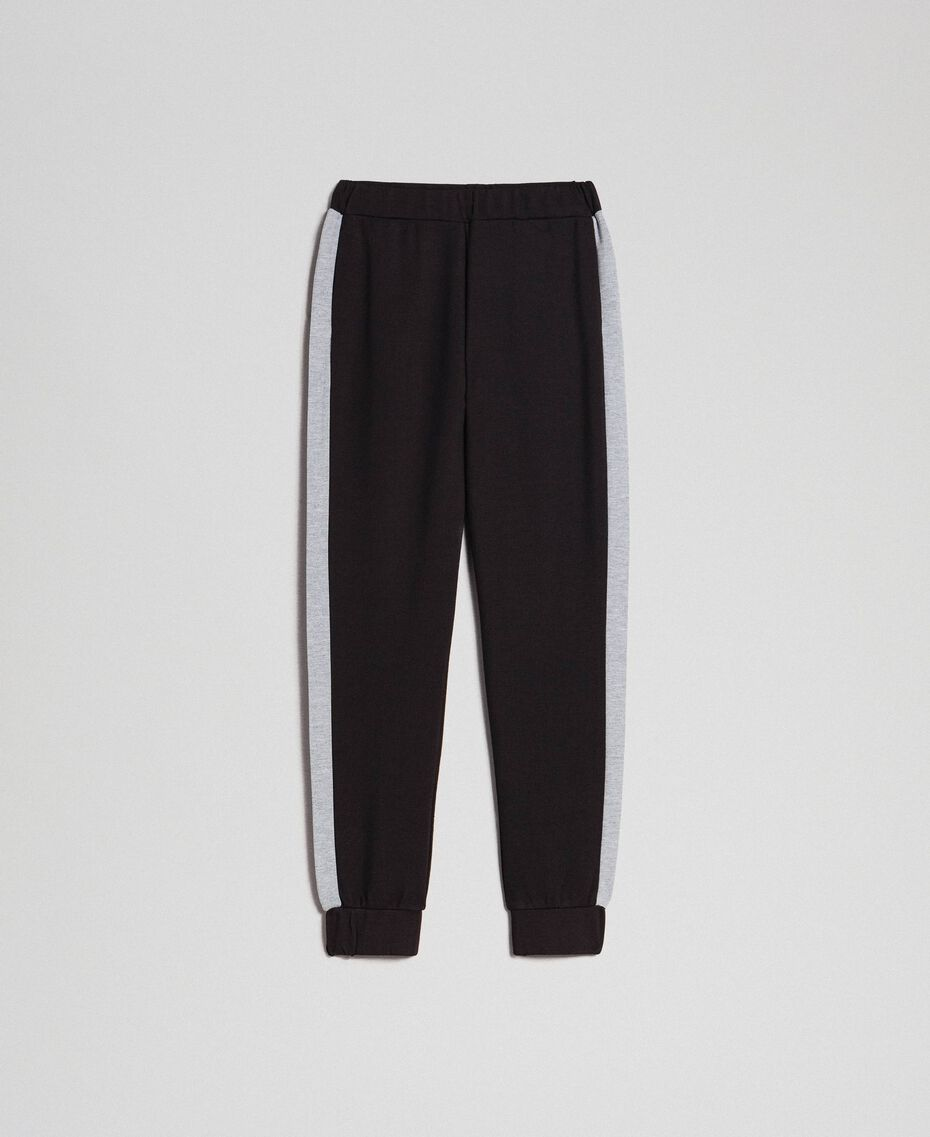 Jogging trousers with contrasting bands Black/ Melange Gray Woman 192LI2HDD-0S