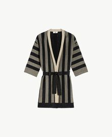 Lurex cardigan Two-tone Black / Gold Woman BS84BB-01