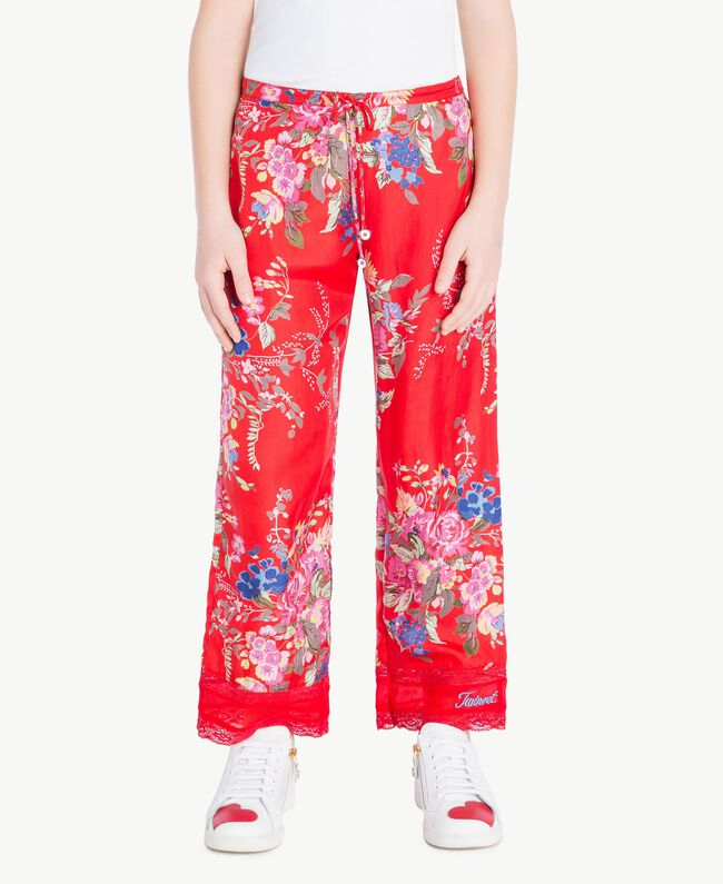 Flowers print trousers Flowers Print / Pomegranate Red Child GS82E2-04