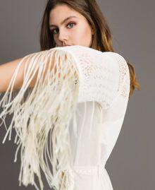 Robe en point filet avec franges Écru Femme 191TT3060-01