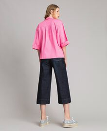 Jeans wide leg cropped Denim Blue Donna 191MP2470-04
