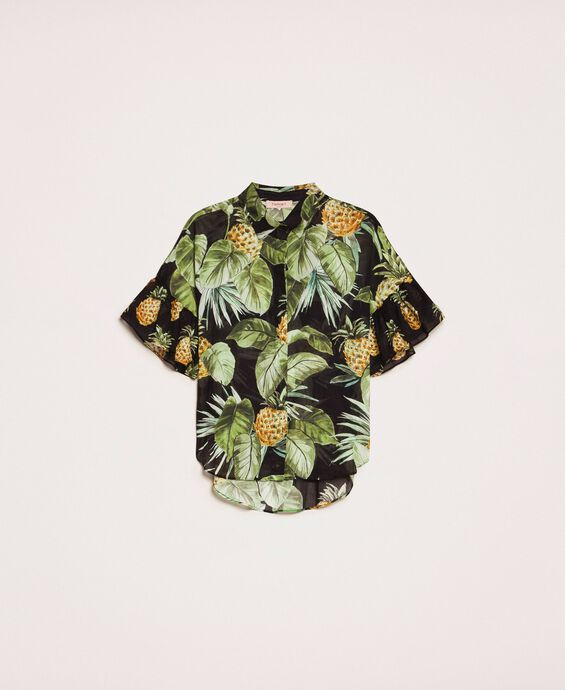 Printed shirt with flounces