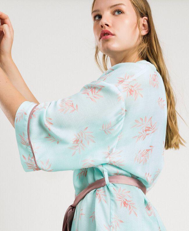 Robe de chambre en jacquard à imprimé floral Imprimé Feuilles Bleu Mousse Femme 191LL2FDD-04