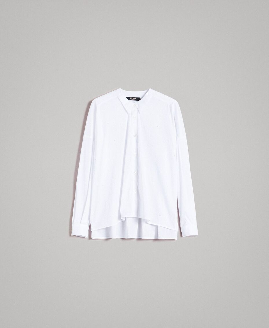 Рубашка из поплина с вышивкой под горошек Сливочный White женщина 191MP2194-0S
