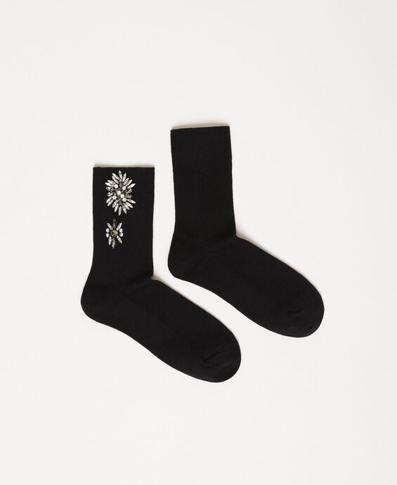Short socks with floral embroidery