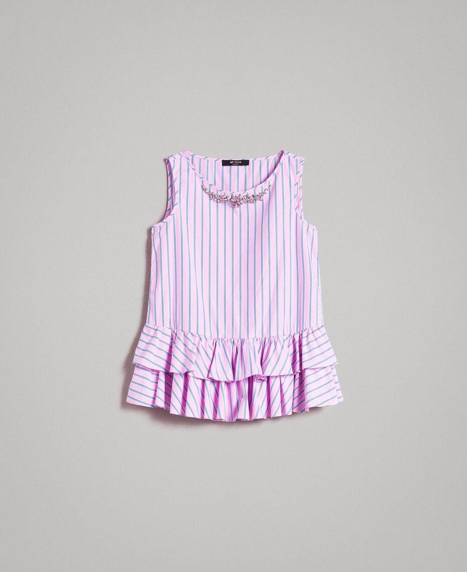 Striped poplin top with flounces Hydrangea Pink Woman 191MP2041-0S