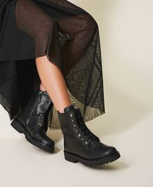Leather combat boots with studs Black Woman 202TCP146-0S