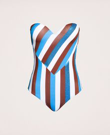 """One-piece swimsuit with stripes and rhinestones Multicolour """"Bay"""" Blue / """"Choco"""" Brown / Optical White Woman 201LMMFXX-0S"""