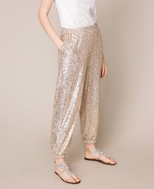 Sequinned joggers Gold Yellow Woman 201LB21GG-03